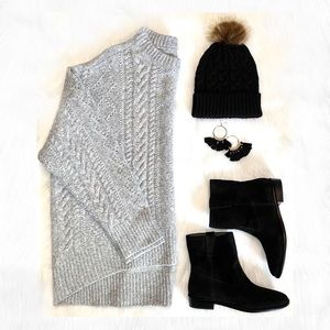 Oversized Alpaca Sweater Braided Cable Knit Woven